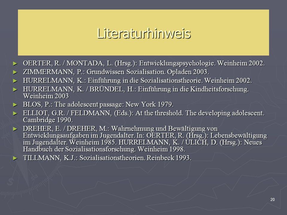 20 Literaturhinweis ► OERTER, R. / MONTADA, L. (Hrsg.): Entwicklungspsychologie. Weinheim 2002. ► ZIMMERMANN, P.: Grundwissen Sozialisation. Opladen 2