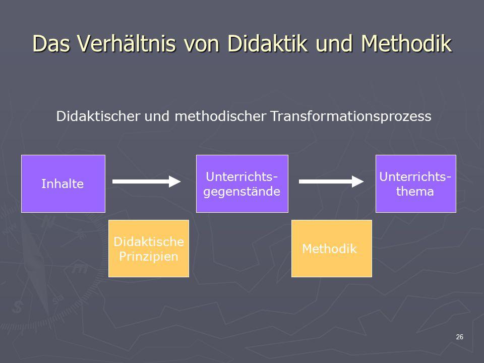 26 Das Verhältnis von Didaktik und Methodik Inhalte Unterrichts- gegenstände Unterrichts- thema Didaktischer und methodischer Transformationsprozess D