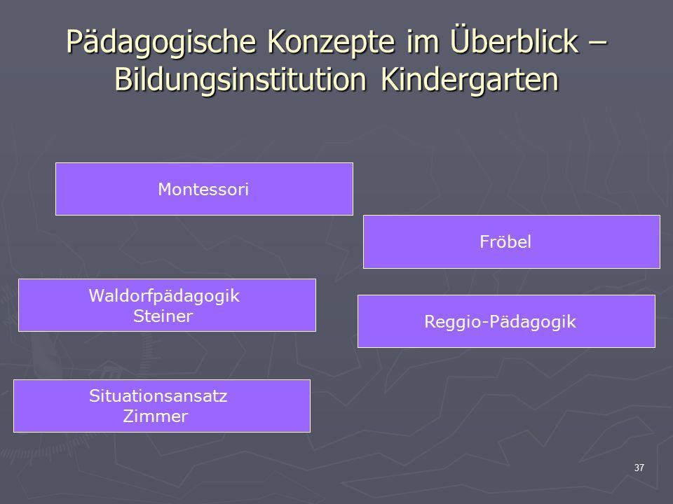 37 Pädagogische Konzepte im Überblick – Bildungsinstitution Kindergarten Montessori Fröbel Waldorfpädagogik Steiner Reggio-Pädagogik Situationsansatz