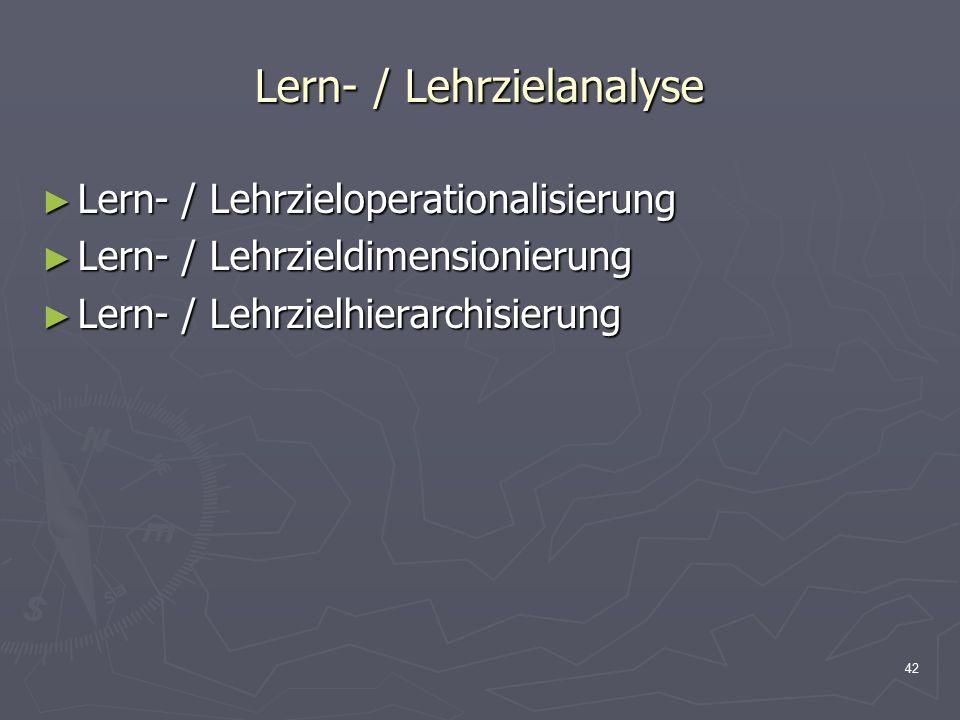 42 Lern- / Lehrzielanalyse ► Lern- / Lehrzieloperationalisierung ► Lern- / Lehrzieldimensionierung ► Lern- / Lehrzielhierarchisierung