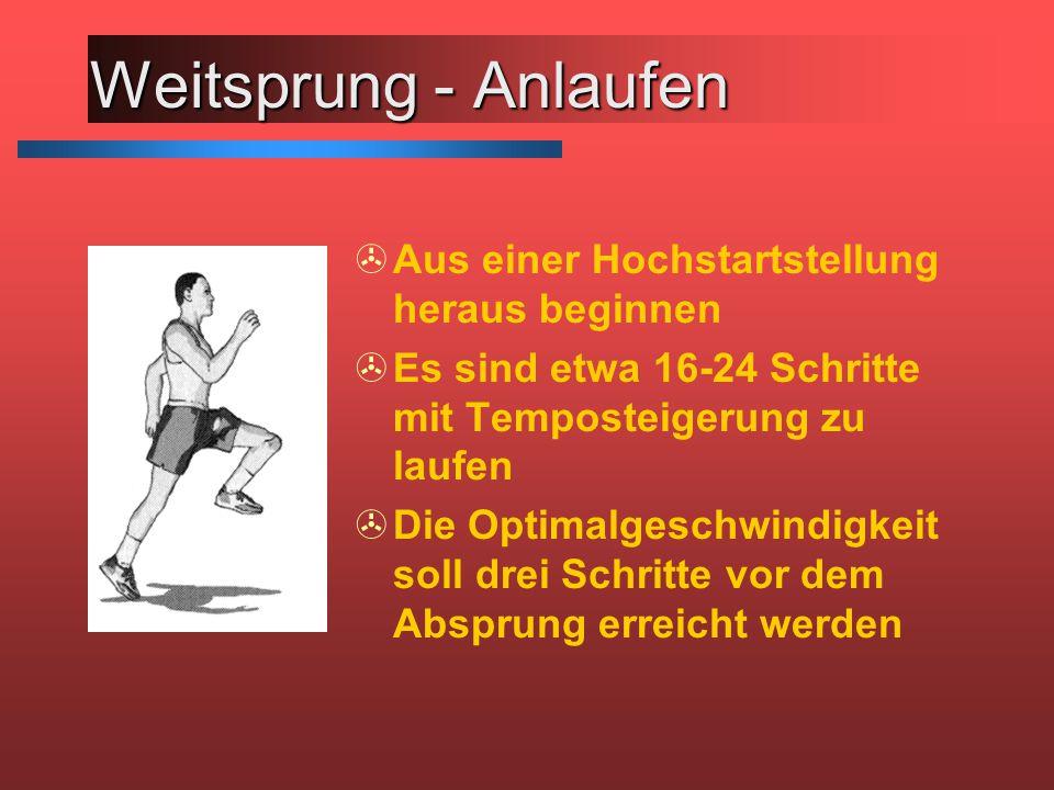 Weitsprung - Anlaufen >Aus einer Hochstartstellung heraus beginnen >Es sind etwa 16-24 Schritte mit Temposteigerung zu laufen >Die Optimalgeschwindigkeit soll drei Schritte vor dem Absprung erreicht werden