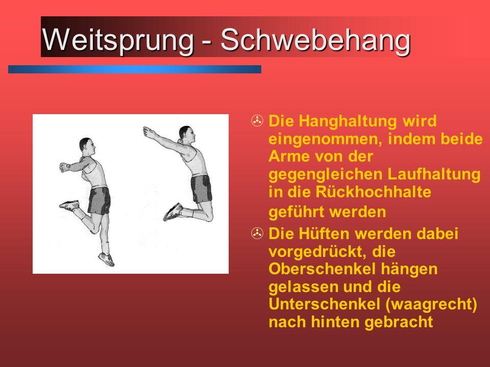 Weitsprung - Schwebehang >Die Hanghaltung wird eingenommen, indem beide Arme von der gegengleichen Laufhaltung in die Rückhochhalte geführt werden >Di