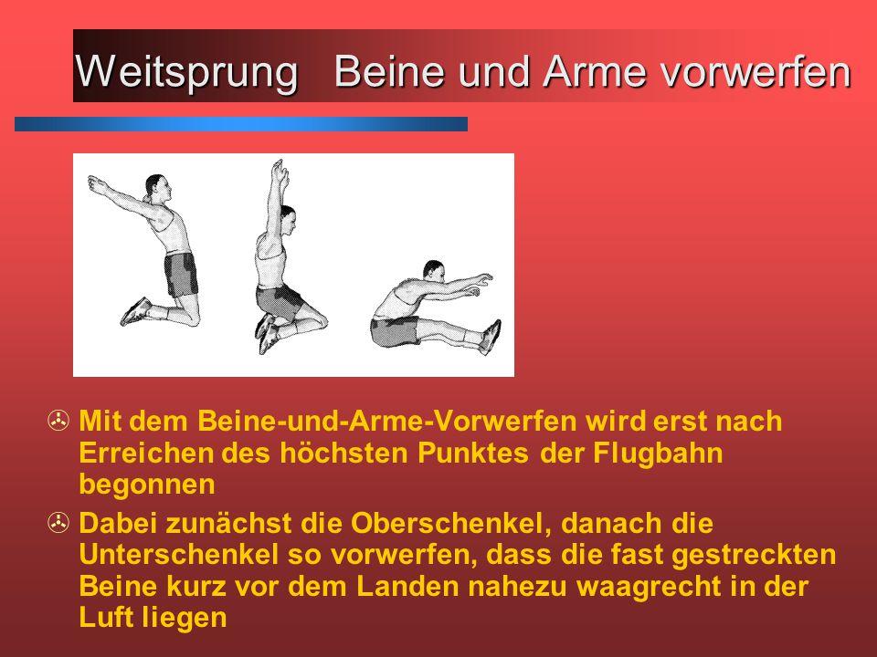 >Mit dem Beine-und-Arme-Vorwerfen wird erst nach Erreichen des höchsten Punktes der Flugbahn begonnen >Dabei zunächst die Oberschenkel, danach die Unt