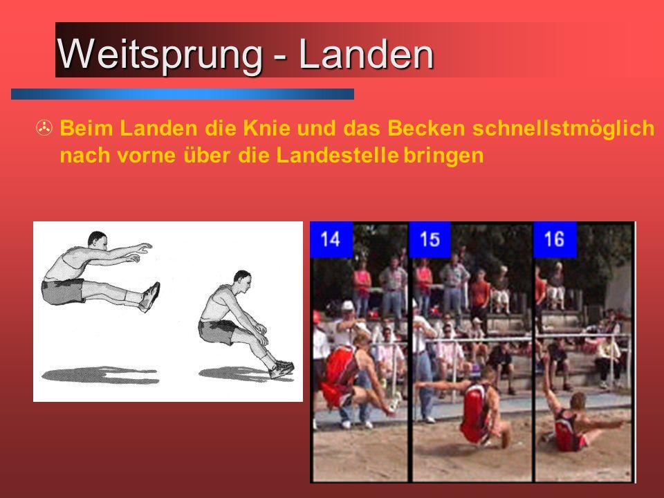 Weitsprung - Landen >Beim Landen die Knie und das Becken schnellstmöglich nach vorne über die Landestelle bringen