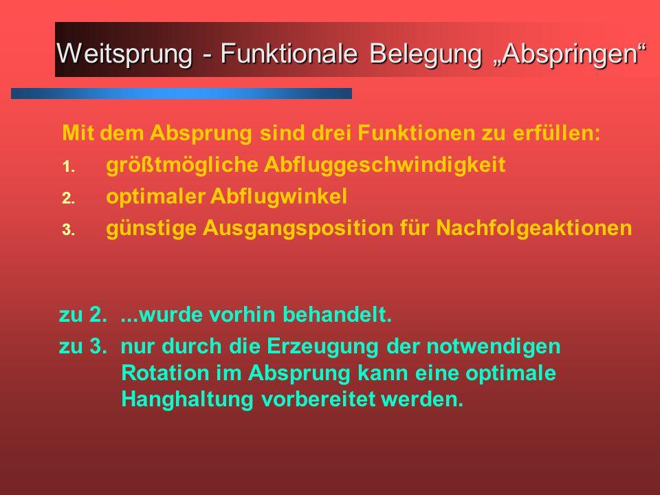 Mit dem Absprung sind drei Funktionen zu erfüllen: 1. größtmögliche Abfluggeschwindigkeit 2. optimaler Abflugwinkel 3. günstige Ausgangsposition für N
