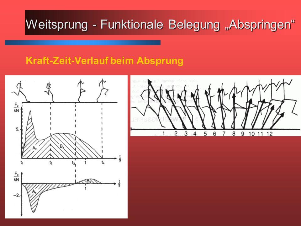 """Weitsprung - Funktionale Belegung """"Abspringen Kraft-Zeit-Verlauf beim Absprung"""