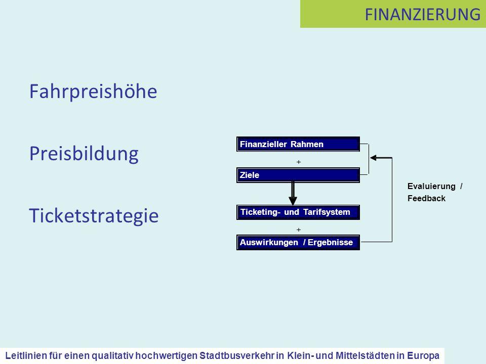 Fahrpreishöhe Preisbildung Ticketstrategie FINANZIERUNG Leitlinien für einen qualitativ hochwertigen Stadtbusverkehr in Klein- und Mittelstädten in Eu