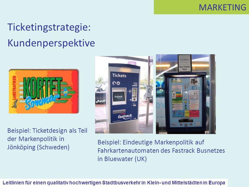 Ticketingstrategie: Kundenperspektive MARKETING Beispiel: Ticketdesign als Teil der Markenpolitik in Jönköping (Schweden) Beispiel: Eindeutige Markenp