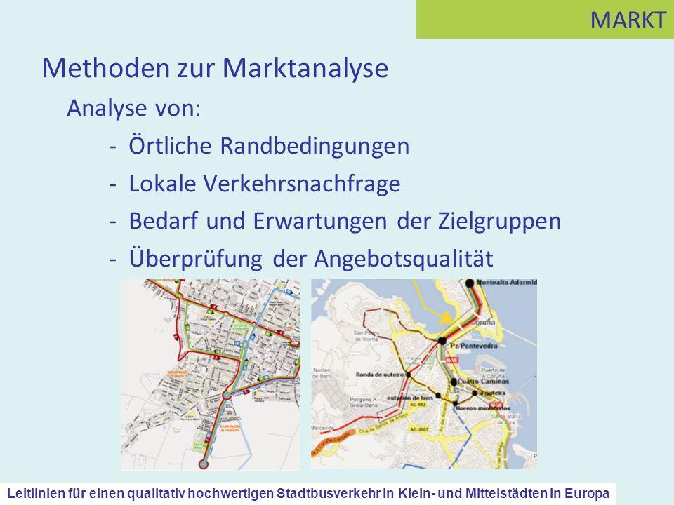 Methoden zur Marktanalyse Analyse von: - Örtliche Randbedingungen - Lokale Verkehrsnachfrage - Bedarf und Erwartungen der Zielgruppen - Überprüfung de