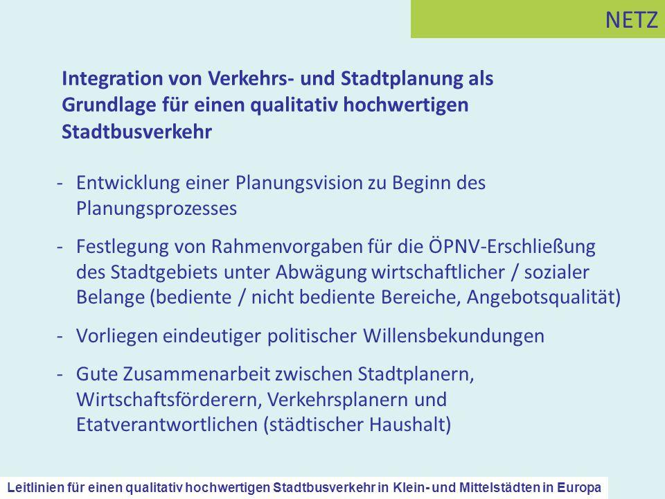 Integration von Verkehrs- und Stadtplanung als Grundlage für einen qualitativ hochwertigen Stadtbusverkehr NETZ -Entwicklung einer Planungsvision zu B