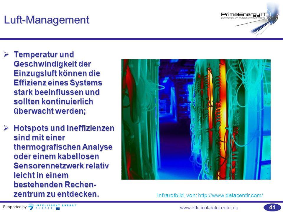 Supported by: 41 www.efficient-datacenter.eu Luft-Management  Temperatur und Geschwindigkeit der Einzugsluft können die Effizienz eines Systems stark