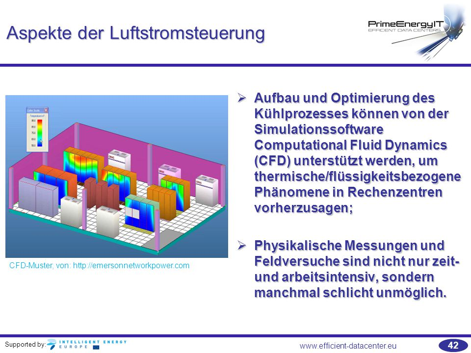 Supported by: 42 www.efficient-datacenter.eu Aspekte der Luftstromsteuerung  Aufbau und Optimierung des Kühlprozesses können von der Simulationssoftw