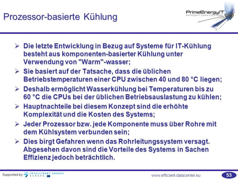 Supported by: 53 www.efficient-datacenter.eu Prozessor-basierte Kühlung  Die letzte Entwicklung in Bezug auf Systeme für IT-Kühlung besteht aus kompo