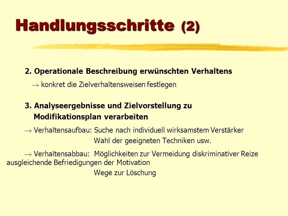 Handlungsschritte (2) 2. Operationale Beschreibung erwünschten Verhaltens  konkret die Zielverhaltensweisen festlegen 3. Analyseergebnisse und Zielvo