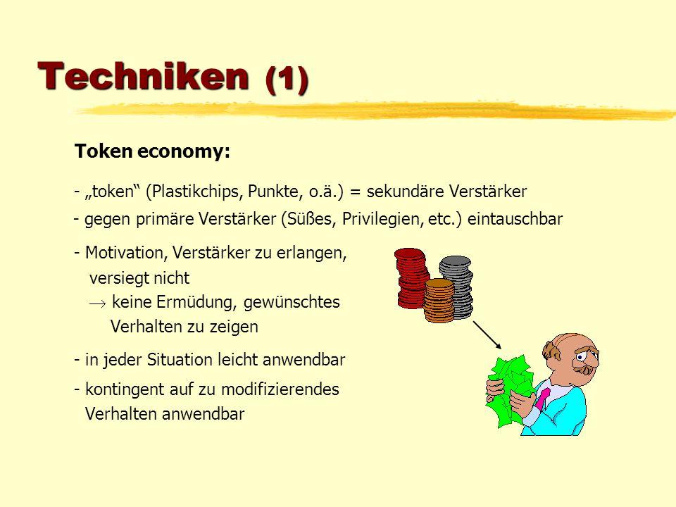 "Techniken (1) Token economy: - ""token"" (Plastikchips, Punkte, o.ä.) = sekundäre Verstärker - gegen primäre Verstärker (Süßes, Privilegien, etc.) einta"
