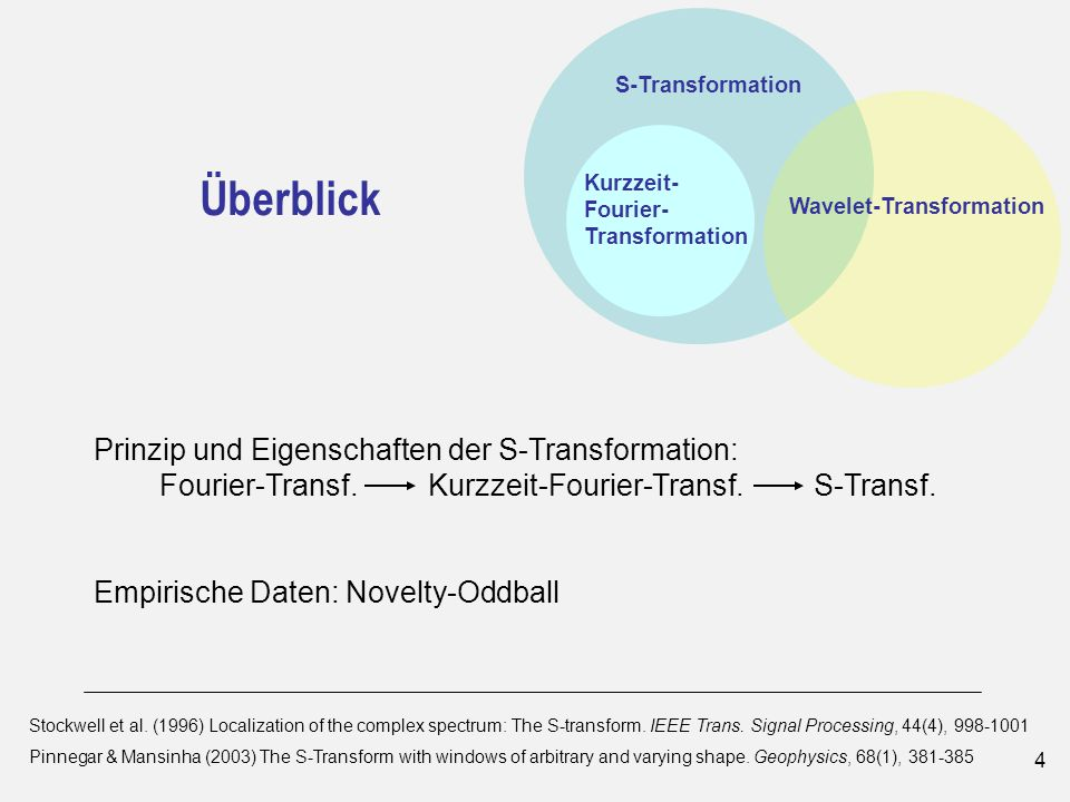4 S-Transformation Kurzzeit- Fourier- Transformation Wavelet-Transformation Überblick Stockwell et al.