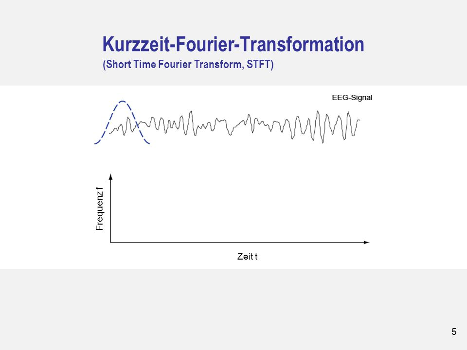 5 Kurzzeit-Fourier-Transformation (Short Time Fourier Transform, STFT) Frequenz Zeit t Frequenz f