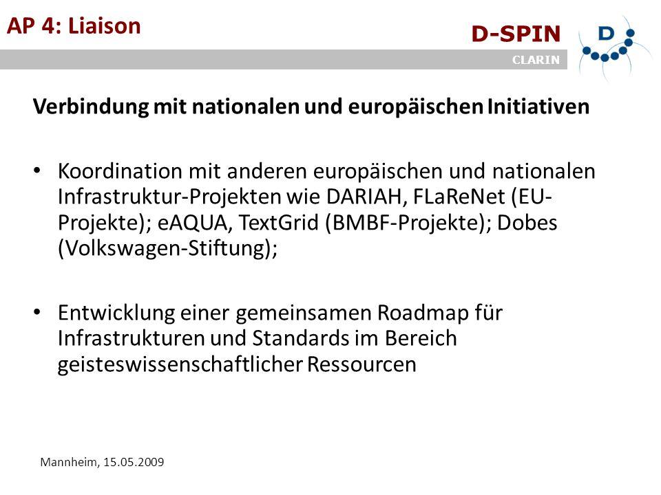 D-SPIN CLARIN Mannheim, 15.05.2009 ArbeitsgruppenAP 4: Liaison Verbindung mit nationalen und europäischen Initiativen Koordination mit anderen europäi