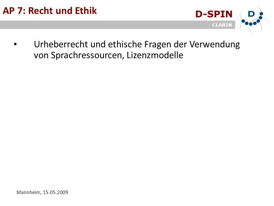 D-SPIN CLARIN Mannheim, 15.05.2009 AP 7: Recht und Ethik Urheberrecht und ethische Fragen der Verwendung von Sprachressourcen, Lizenzmodelle