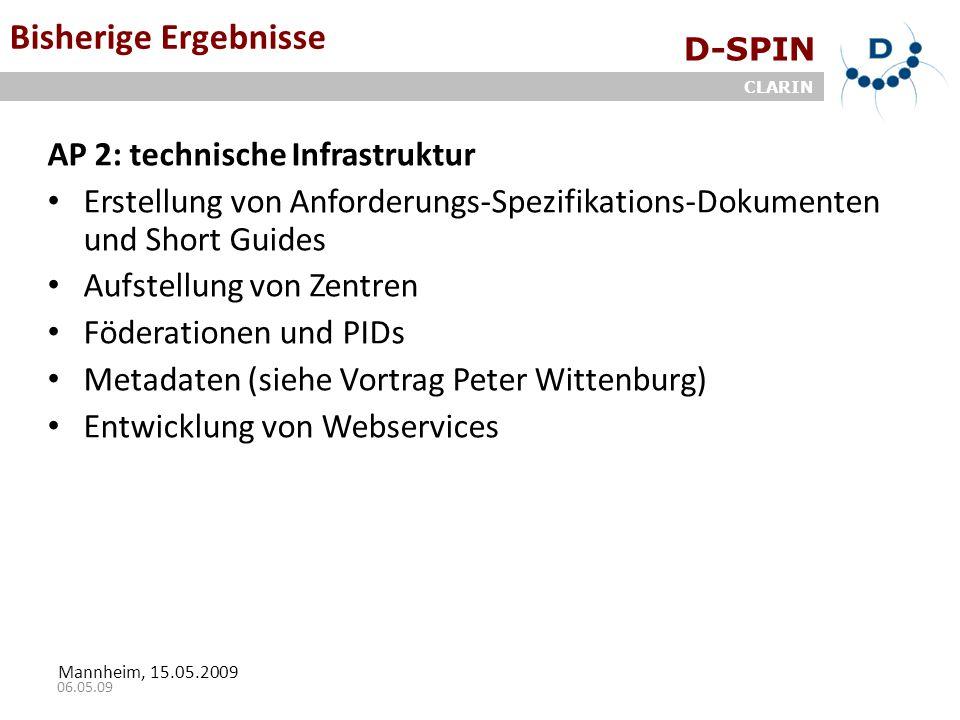 D-SPIN CLARIN Mannheim, 15.05.2009 06.05.09 Bisherige Ergebnisse AP 2: technische Infrastruktur Erstellung von Anforderungs-Spezifikations-Dokumenten und Short Guides Aufstellung von Zentren Föderationen und PIDs Metadaten (siehe Vortrag Peter Wittenburg) Entwicklung von Webservices