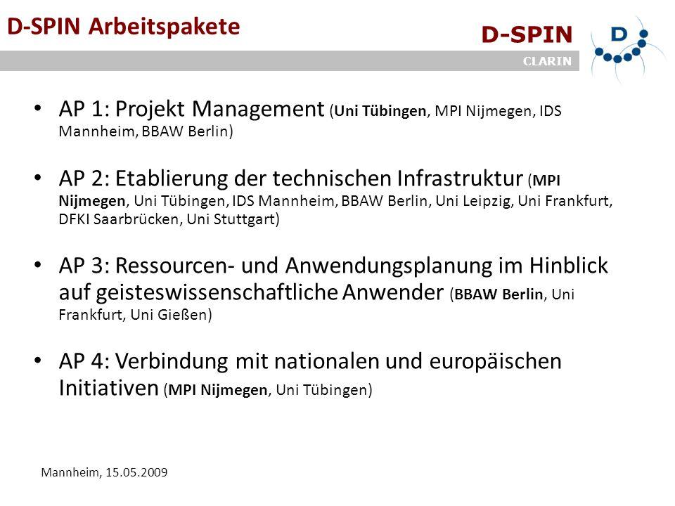 D-SPIN CLARIN Mannheim, 15.05.2009 ArbeitsgruppenD-SPIN Arbeitspakete AP 1: Projekt Management (Uni Tübingen, MPI Nijmegen, IDS Mannheim, BBAW Berlin)