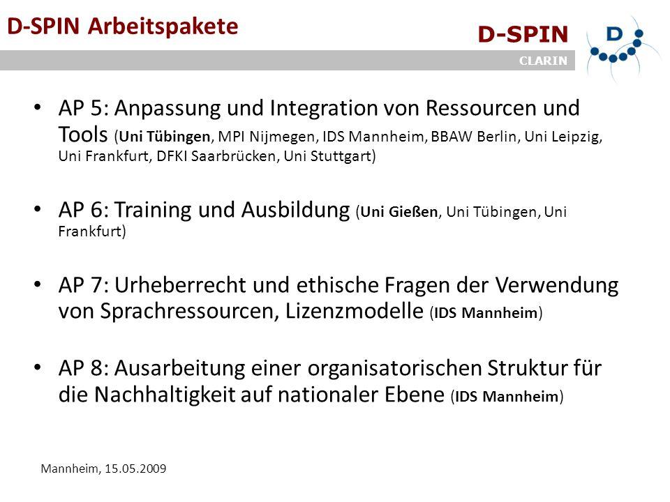 D-SPIN CLARIN Mannheim, 15.05.2009 D-SPIN Arbeitspakete AP 5: Anpassung und Integration von Ressourcen und Tools (Uni Tübingen, MPI Nijmegen, IDS Mann