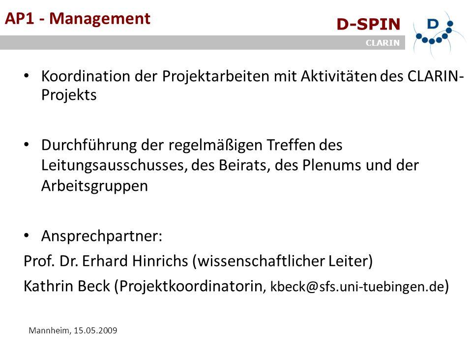 D-SPIN CLARIN Mannheim, 15.05.2009 ArbeitsgruppenAP1 - Management Koordination der Projektarbeiten mit Aktivitäten des CLARIN- Projekts Durchführung der regelmäßigen Treffen des Leitungsausschusses, des Beirats, des Plenums und der Arbeitsgruppen Ansprechpartner: Prof.
