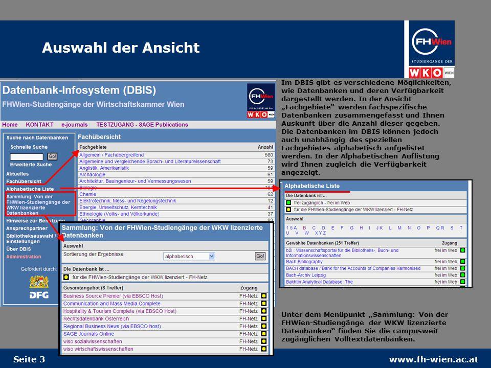 www.fh-wien.ac.atSeite 3 Im DBIS gibt es verschiedene Möglichkeiten, wie Datenbanken und deren Verfügbarkeit dargestellt werden.