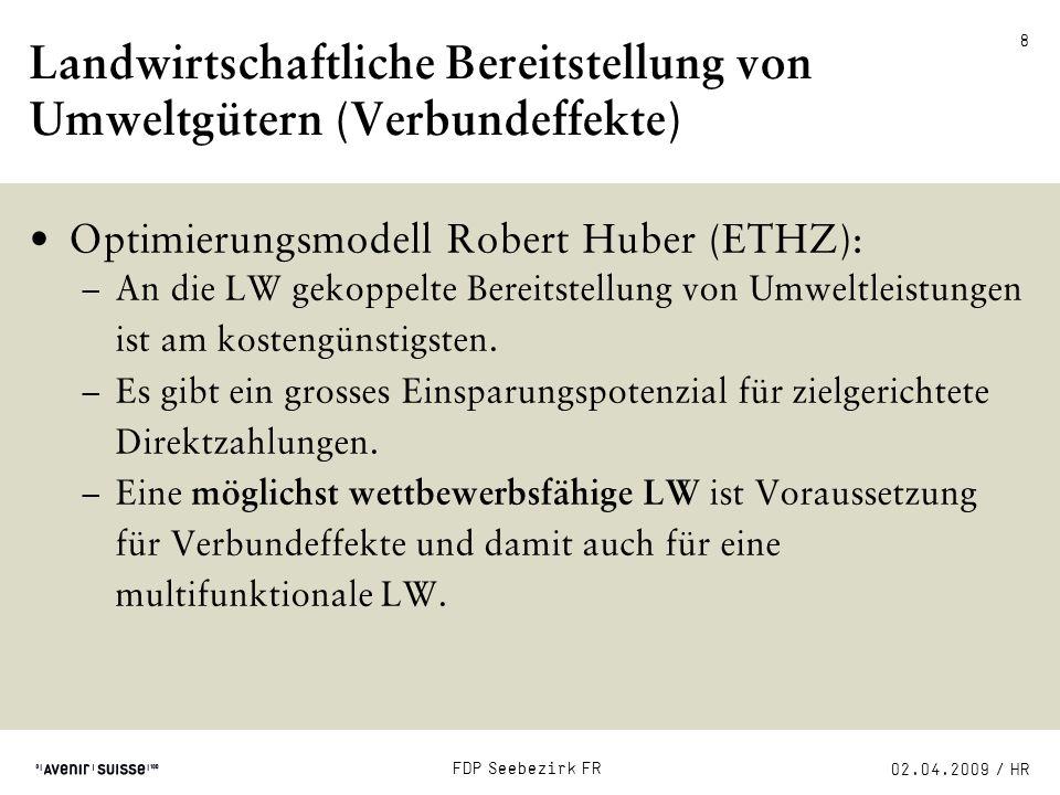 02.04.2009 / HR FDP Seebezirk FR 9 «Der befreite Bauer»: Die Hauptbotschaften 1)Multifunktionalität wird als Legitimation für Staatshilfe überstrapaziert.