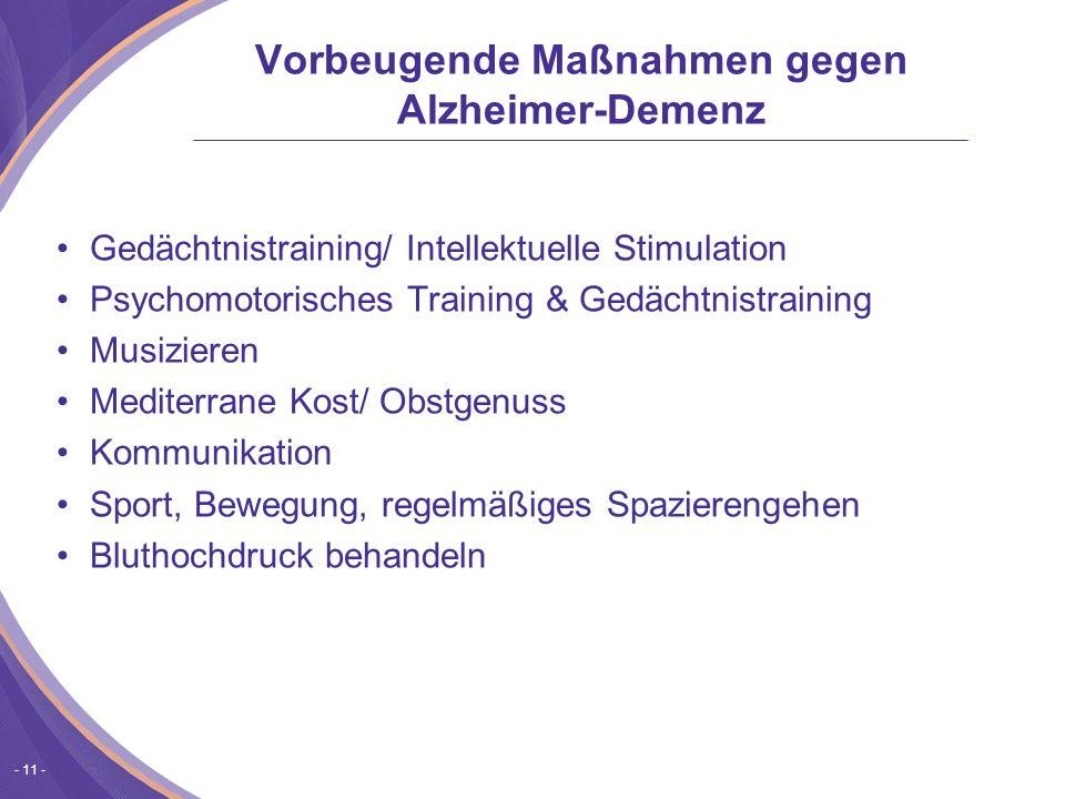- 11 - Vorbeugende Maßnahmen gegen Alzheimer-Demenz Gedächtnistraining/ Intellektuelle Stimulation Psychomotorisches Training & Gedächtnistraining Musizieren Mediterrane Kost/ Obstgenuss Kommunikation Sport, Bewegung, regelmäßiges Spazierengehen Bluthochdruck behandeln