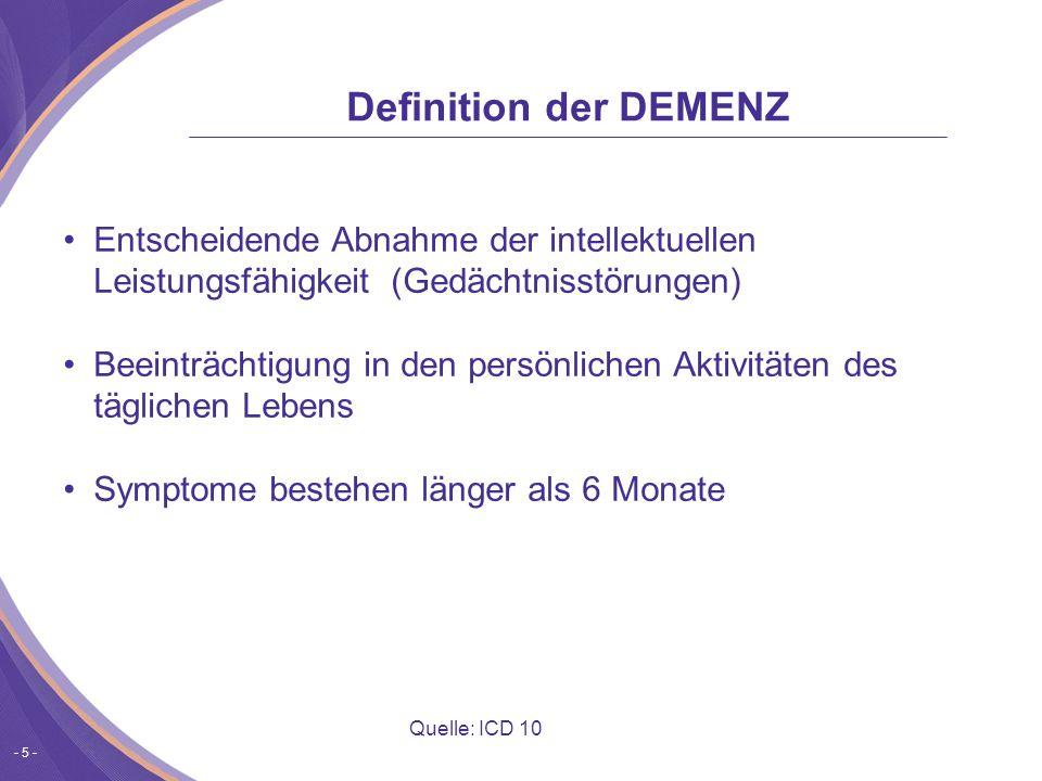 - 5 - Entscheidende Abnahme der intellektuellen Leistungsfähigkeit (Gedächtnisstörungen) Beeinträchtigung in den persönlichen Aktivitäten des täglichen Lebens Symptome bestehen länger als 6 Monate Quelle: ICD 10 Definition der DEMENZ