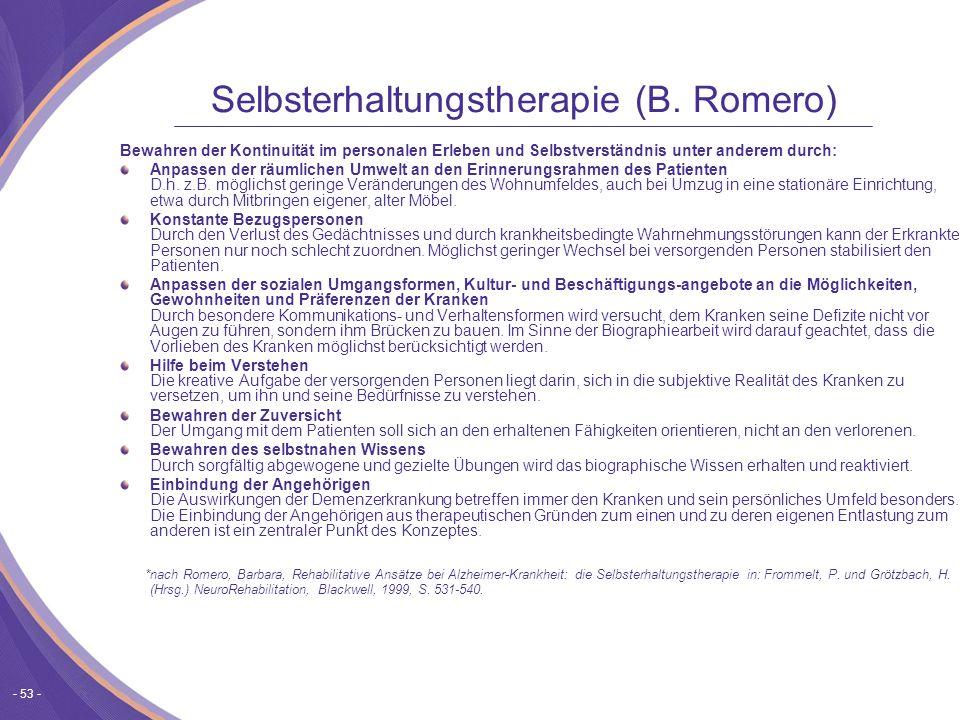 - 53 - Selbsterhaltungstherapie (B.