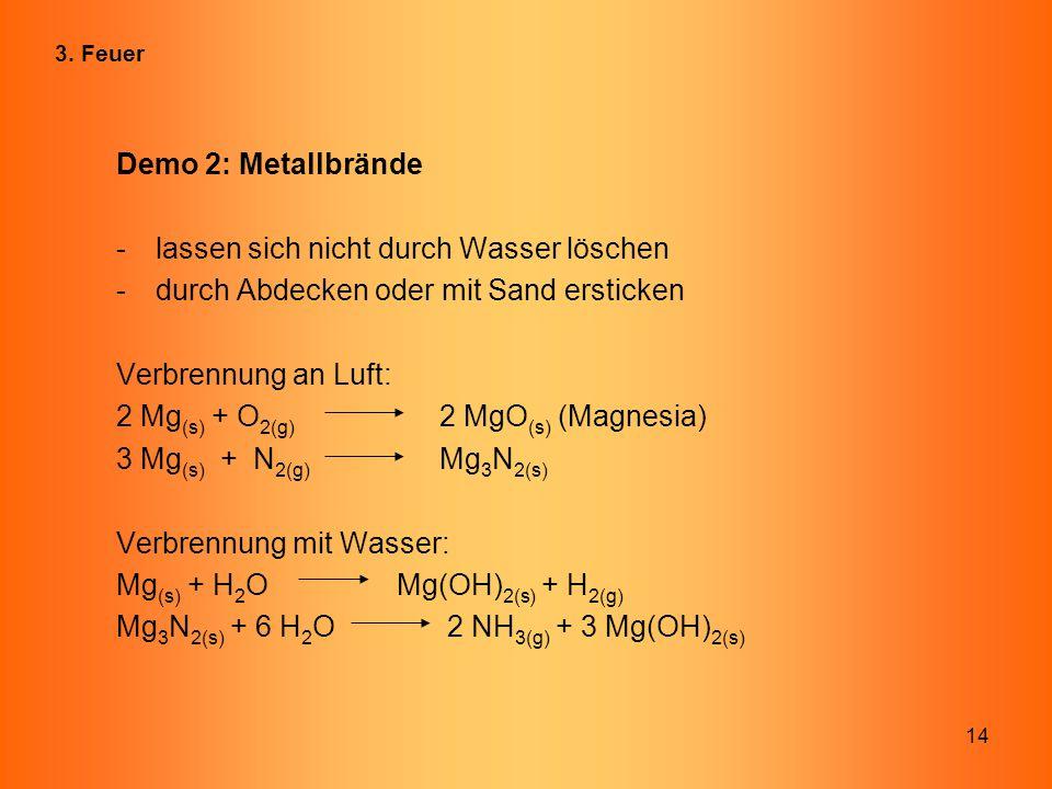 14 Demo 2: Metallbrände -lassen sich nicht durch Wasser löschen -durch Abdecken oder mit Sand ersticken Verbrennung an Luft: 2 Mg (s) + O 2(g) 2 MgO (
