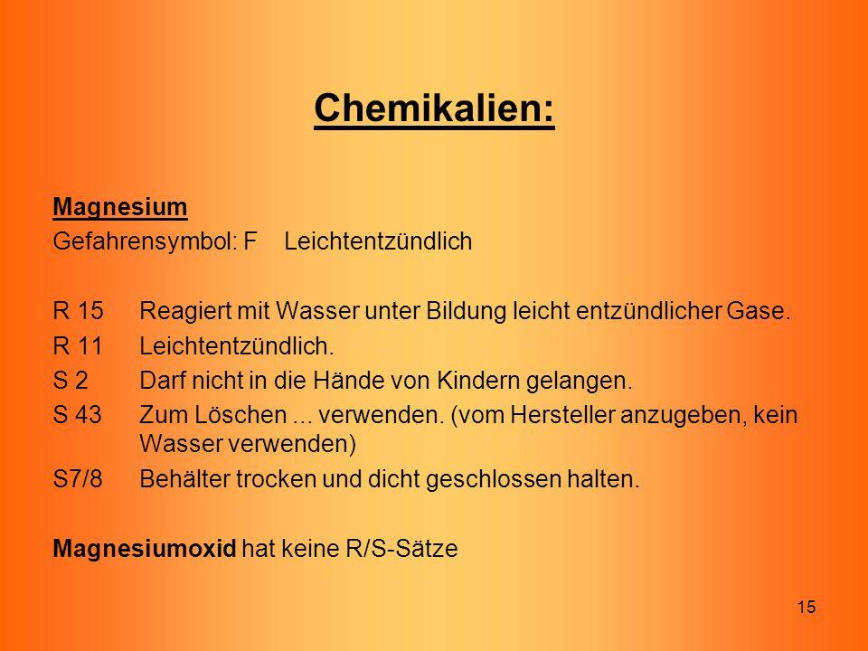 15 Chemikalien: Magnesium Gefahrensymbol: F Leichtentzündlich R 15Reagiert mit Wasser unter Bildung leicht entzündlicher Gase. R 11 Leichtentzündlich.