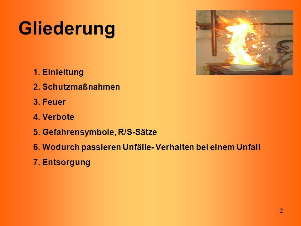 2 1. Einleitung 2. Schutzmaßnahmen 3. Feuer 4. Verbote 5. Gefahrensymbole, R/S-Sätze 6. Wodurch passieren Unfälle- Verhalten bei einem Unfall 7. Entso