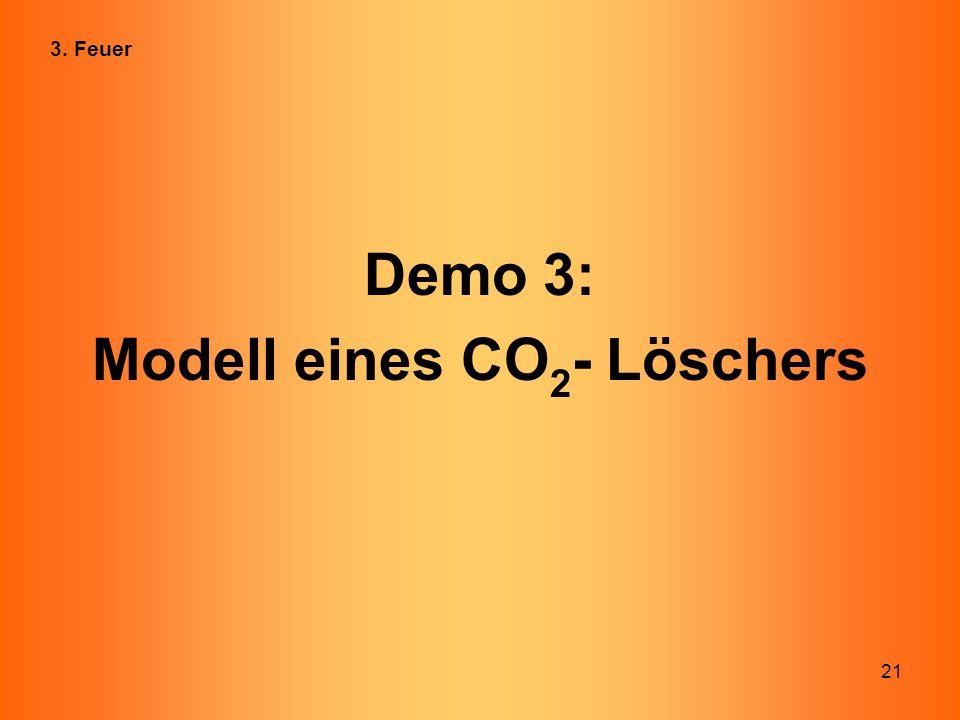 21 Demo 3: Modell eines CO 2 - Löschers 3. Feuer