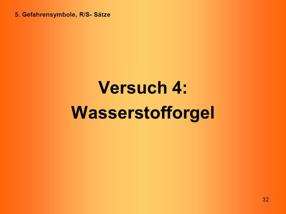 32 Versuch 4: Wasserstofforgel 5. Gefahrensymbole, R/S- Sätze