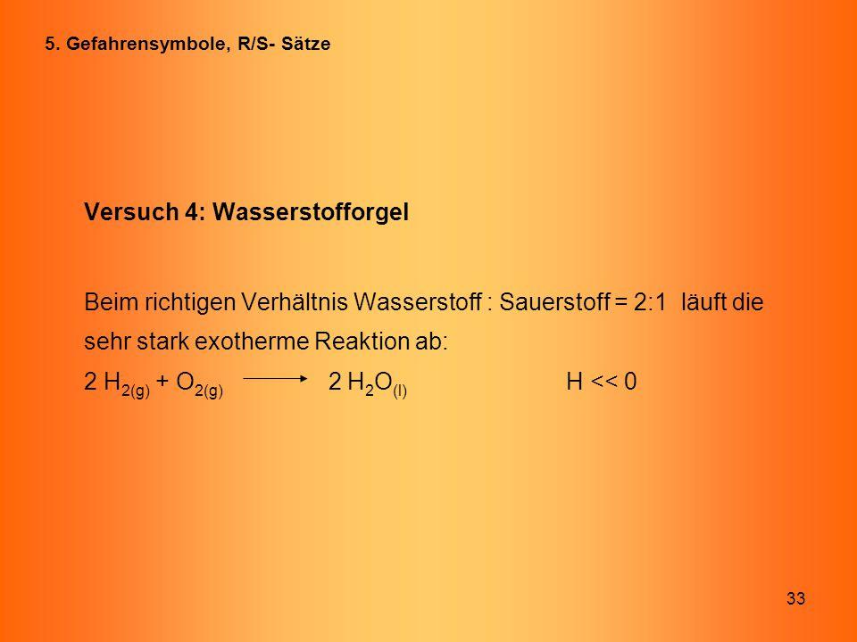 33 Versuch 4: Wasserstofforgel Beim richtigen Verhältnis Wasserstoff : Sauerstoff = 2:1 läuft die sehr stark exotherme Reaktion ab: 2 H 2(g) + O 2(g)