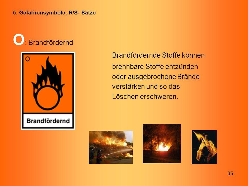 35 O : Brandfördernd Brandfördernde Stoffe können brennbare Stoffe entzünden oder ausgebrochene Brände verstärken und so das Löschen erschweren. 5. Ge