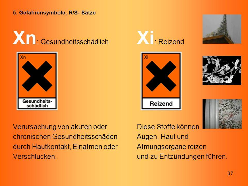 37 Xn : Gesundheitsschädlich Xi : Reizend Verursachung von akuten oder Diese Stoffe können chronischen Gesundheitsschäden Augen, Haut und durch Hautko