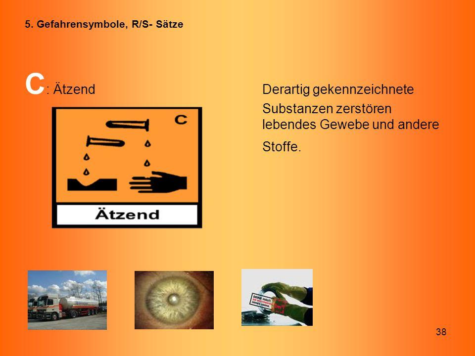 38 C : ÄtzendDerartig gekennzeichnete Substanzen zerstören lebendes Gewebe und andere Stoffe. 5. Gefahrensymbole, R/S- Sätze