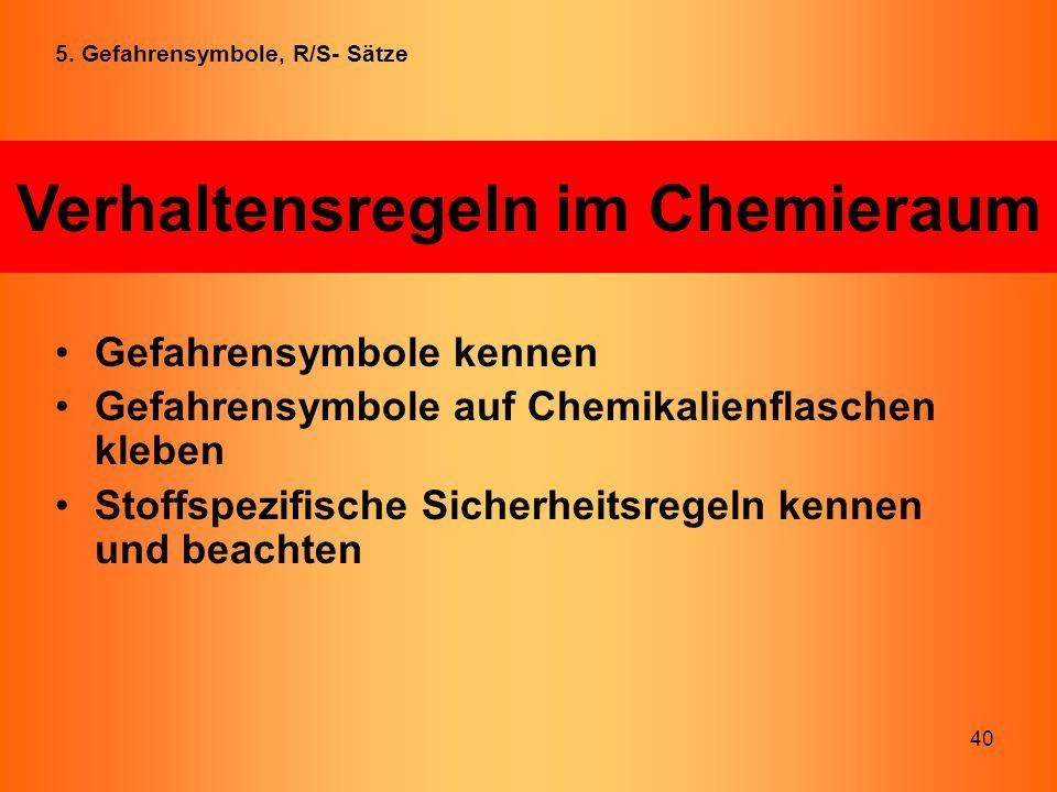 40 Gefahrensymbole kennen Gefahrensymbole auf Chemikalienflaschen kleben Stoffspezifische Sicherheitsregeln kennen und beachten Verhaltensregeln im Ch