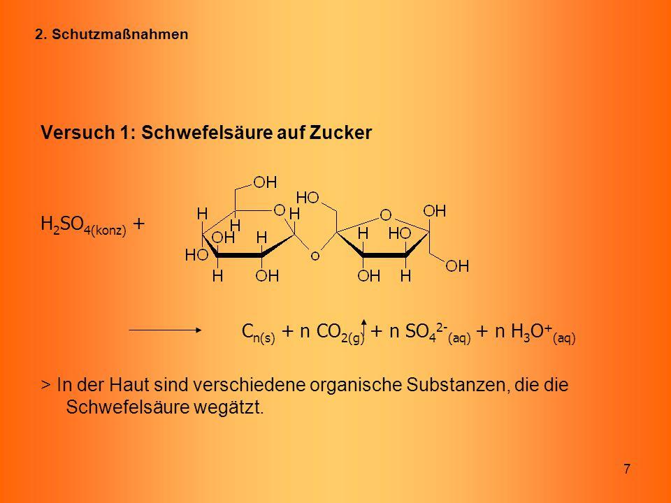 7 Versuch 1: Schwefelsäure auf Zucker H 2 SO 4(konz) + C n(s) + n CO 2(g) + n SO 4 2- (aq) + n H 3 O + (aq) > In der Haut sind verschiedene organische