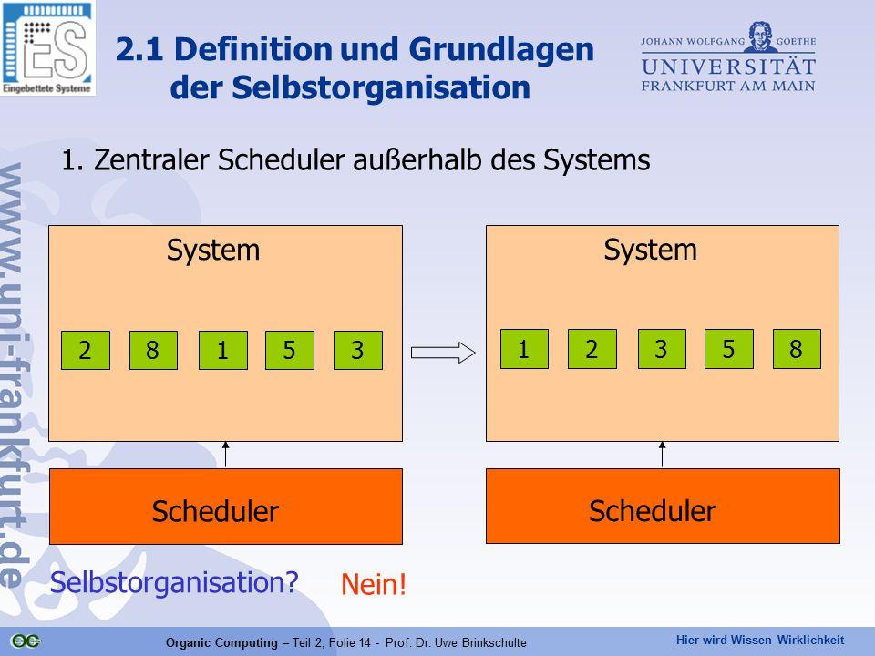 Hier wird Wissen Wirklichkeit Organic Computing – Teil 2, Folie 14 - Prof. Dr. Uwe Brinkschulte 1. Zentraler Scheduler außerhalb des Systems 2.1 Defin