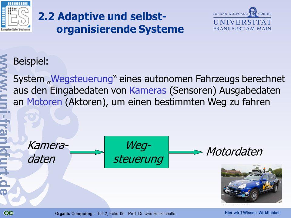 """Hier wird Wissen Wirklichkeit Organic Computing – Teil 2, Folie 19 - Prof. Dr. Uwe Brinkschulte Beispiel: System """"Wegsteuerung"""" eines autonomen Fahrze"""