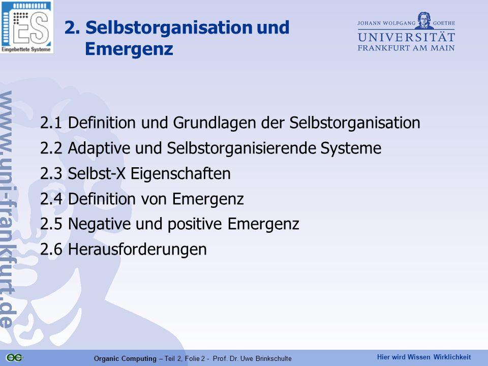 Hier wird Wissen Wirklichkeit Organic Computing – Teil 2, Folie 2 - Prof. Dr. Uwe Brinkschulte 2. Selbstorganisation und Emergenz 2.1 Definition und G