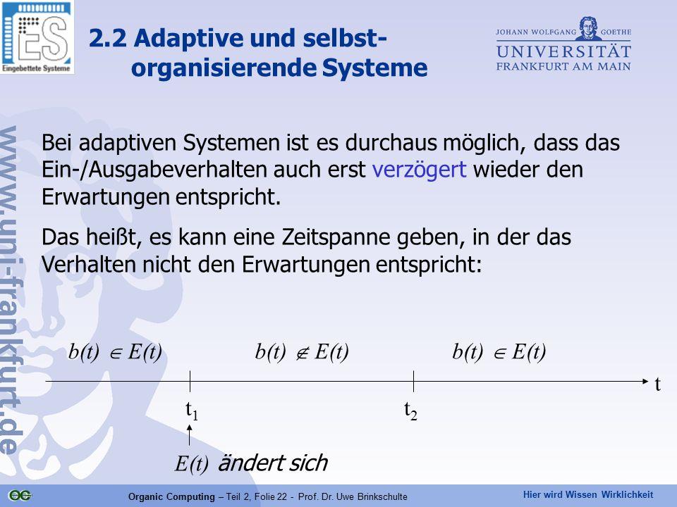 Hier wird Wissen Wirklichkeit Organic Computing – Teil 2, Folie 22 - Prof. Dr. Uwe Brinkschulte Bei adaptiven Systemen ist es durchaus möglich, dass d
