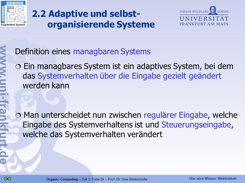 Hier wird Wissen Wirklichkeit Organic Computing – Teil 2, Folie 24 - Prof. Dr. Uwe Brinkschulte Definition eines managbaren Systems  Ein managbares S