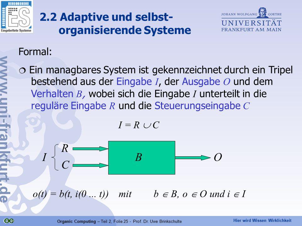 Hier wird Wissen Wirklichkeit Organic Computing – Teil 2, Folie 25 - Prof. Dr. Uwe Brinkschulte Formal:  Ein managbares System ist gekennzeichnet dur