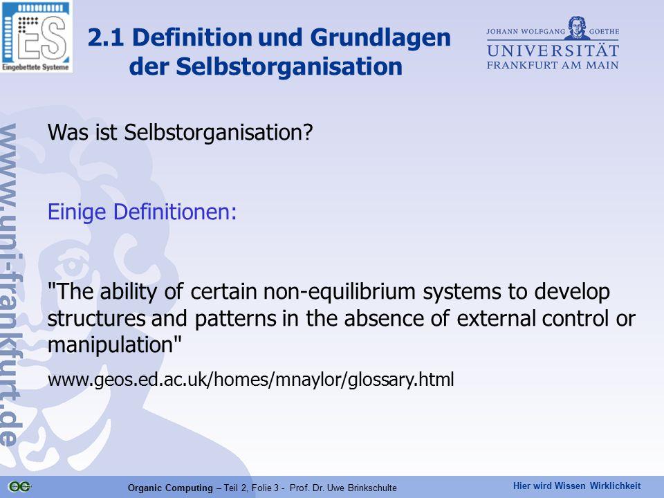 Hier wird Wissen Wirklichkeit Organic Computing – Teil 2, Folie 3 - Prof. Dr. Uwe Brinkschulte 2.1 Definition und Grundlagen der Selbstorganisation Wa